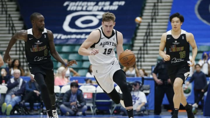 Luka Samanic of the Austin Spurs dribbles up the court during the 2019 NBA Summer League. (Photo by Tim Heitman/NBAE via Getty Images)