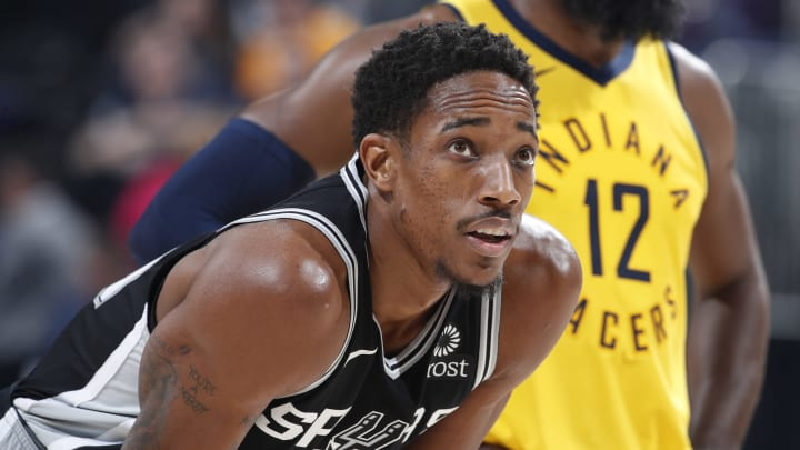 INDIANAPOLIS, IN – NOVEMBER 23: DeMar DeRozan #10 of the San Antonio Spurs looks on against the Indiana Pacers during the game at Bankers Life Fieldhouse. (Photo by Joe Robbins/Getty Images)