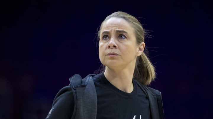 PHILADELPHIA, PA – JANUARY 23: Assistant coach Becky Hammon of the San Antonio Spurs looks on during warms up before the game against the Philadelphia 76ers at the Wells Fargo Center. (Photo by Mitchell Leff/Getty Images)