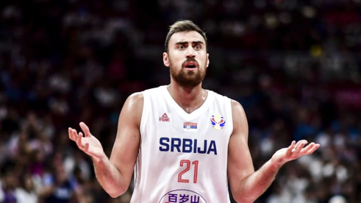 BEIJING, CHINA - SEPTEMBER 14: #21 Nikola Milutinov of Serbia reacts during the games 5-6 match between Serbia and the Czech Republic of 2019 FIBA World Cup at the Cadillac Arena on September 14, 2019 in Beijing, China. (Photo by DI YIN/Getty Images)