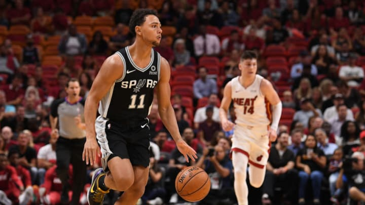 MIAMI, FLORIDA - OCTOBER 08: Bryn Forbes #11 of the San Antonio Spurs in action against the Miami Heat during the first half of the preseason game at American Airlines Arena on October 08, 2019 in Miami, Florida. NOTE TO USER: User expressly acknowledges and agrees that, by downloading and or using this photograph, User is consenting to the terms and conditions of the Getty Images License Agreement. (Photo by Mark Brown/Getty Images)