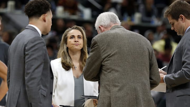 SAN ANTONIO, TX – DECEMBER 12: Assistant coach Becky Hammond of the San Antonio Spurs during a game against the Cleveland Cavaliers in the second half at AT&T Center. (Photo by Ronald Cortes/Getty Images)