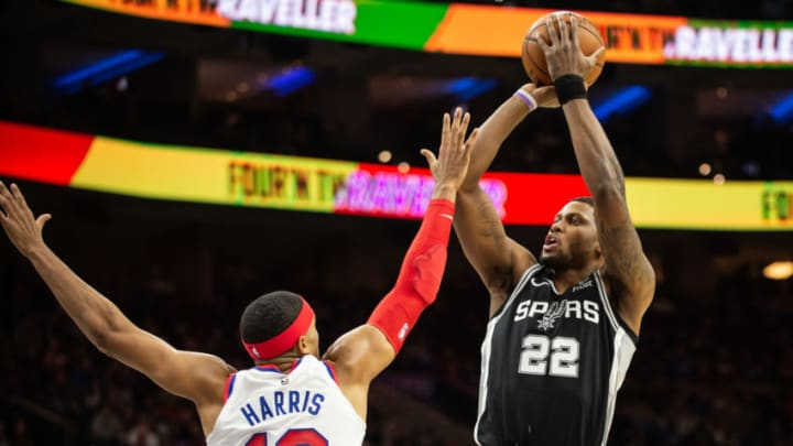 PHILADELPHIA, PA - NOVEMBER 22: Rudy Gay #22 of the San Antonio Spurs shoots the basketball over Tobias Harris #12 of the Philadelphia 76ers during the first quarter of a game at the Wells Fargo Center on November 22, 2019 in Philadelphia, Pennsylvania. NOTE TO USER: User expressly acknowledges and agrees that, by downloading and or using this photograph, User is consenting to the terms and conditions of the Getty Images License Agreement. (Photo by Cameron Pollack/Getty Images)