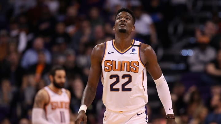 PHOENIX, ARIZONA – JANUARY 20: Deandre Ayton #22 of the Phoenix Suns reacts during the NBA game against the San Antonio Spurs at Talking Stick Resort Arena. (Photo by Christian Petersen/Getty Images)