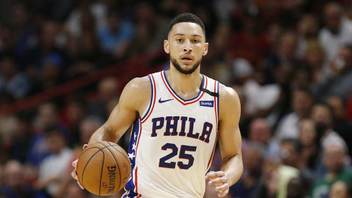MIAMI, FLORIDA – FEBRUARY 03: Ben Simmons #25 of the Philadelphia 76ers in action against the Miami Heat during the first half at American Airlines Arena on February 03, 2020 in Miami. (Photo by Michael Reaves/Getty Images)