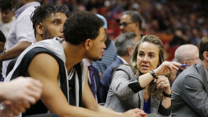 MIAMI, FLORIDA – JANUARY 15: Assistant coach Becky Hammon of the San Antonio Spurs talks with Bryn Forbes #11 against the Miami Heat during the first half at American Airlines Arena. (Photo by Michael Reaves/Getty Images)