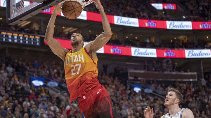 Feb 9, 2019; Salt Lake City, UT, USA; Utah Jazz center Rudy Gobert (27) dunks he ball off of a rebound during the second quarter against the San Antonio Spurs at Vivint Smart Home Arena. Mandatory Credit: Rob Gray-USA TODAY Sports