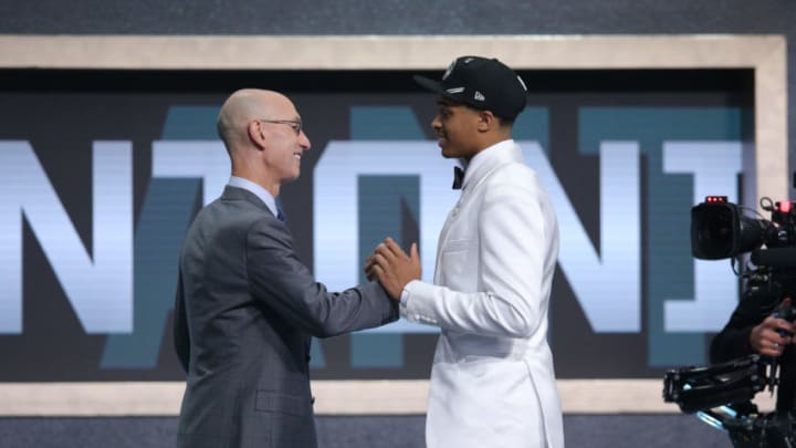 Jun 20, 2019; Brooklyn, NY, USA; Keldon Johnson (Kentucky) greets NBA commissioner Adam Silver after being selected as the number twenty-nine overall pick to the San Antonio Spurs in the first round of the 2019 NBA Draft at Barclays Center. Mandatory Credit: Brad Penner-USA TODAY Sports