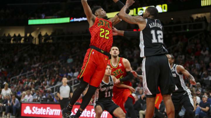 Nov 5, 2019; Atlanta, GA, USA; Atlanta Hawks guard Cam Reddish (22) dunks against the San Antonio Spurs in the second quarter at State Farm Arena. Mandatory Credit: Brett Davis-USA TODAY Sports