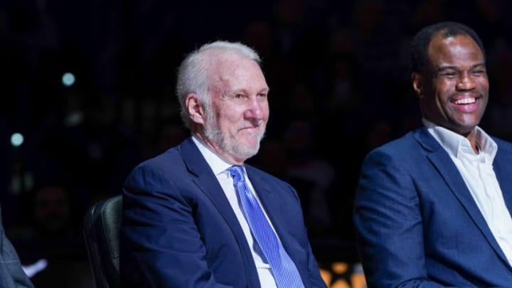 Nov 11, 2019; San Antonio, TX, USA; San Antonio Spurs head coach Gregg Popovich looks on during Tony Parker's retirement ceremony at the AT&T Center. Mandatory Credit: Daniel Dunn-USA TODAY Sports