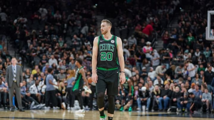 Nov 9, 2019; San Antonio, TX, USA; Boston Celtics forward Gordon Hayward (20) walks up the court in the first half of the game agains the San Antonio Spurs at the AT&T Center. (Daniel Dunn-USA TODAY Sports)