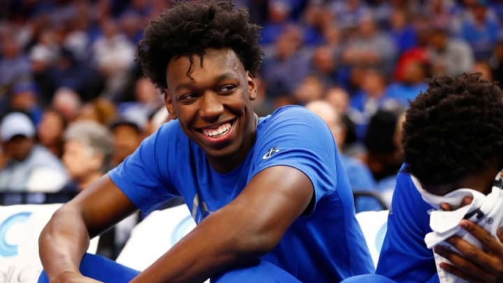 Memphis Tigers center James Wiseman, who'd be a phenomenal fit for the San Antonio Spurs, jokes with his teammates on the bench during their game against the Little Rock Trojans at the FedExForum on Wednesday, November 20, 2019. W 21134