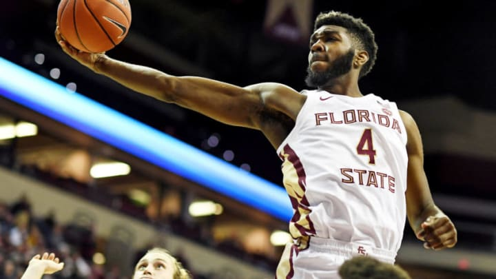Dec 17, 2019; Tallahassee, FL, USA; Florida State Seminoles forward Patrick Williams (4) grabs a rebound during the second half against the North Florida Ospreys at Donald L. Tucker Center. Mandatory Credit: Melina Myers-USA TODAY Sports