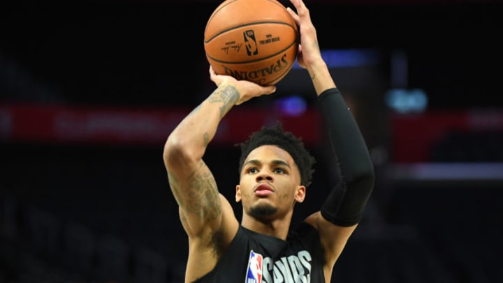Feb 3, 2020; Los Angeles, California, USA; San Antonio Spurs guard Dejounte Murray (5) warms up before a game against the Los Angeles Clippers at Staples Center. Mandatory Credit: Jayne Kamin-Oncea-USA TODAY Sports