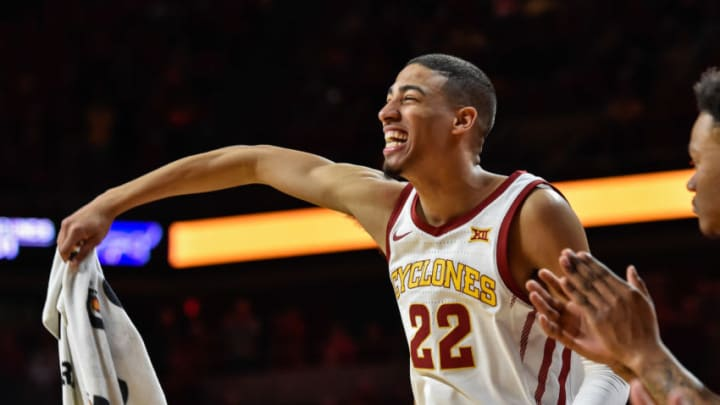 Feb 8, 2020; Ames, Iowa, USA; Iowa State Cyclones guard Tyrese Haliburton (22), a potential fit for the San Antonio Spurs, reacts against the Kansas State Wildcats at Hilton Coliseum. (Jeffrey Becker-USA TODAY Sports)