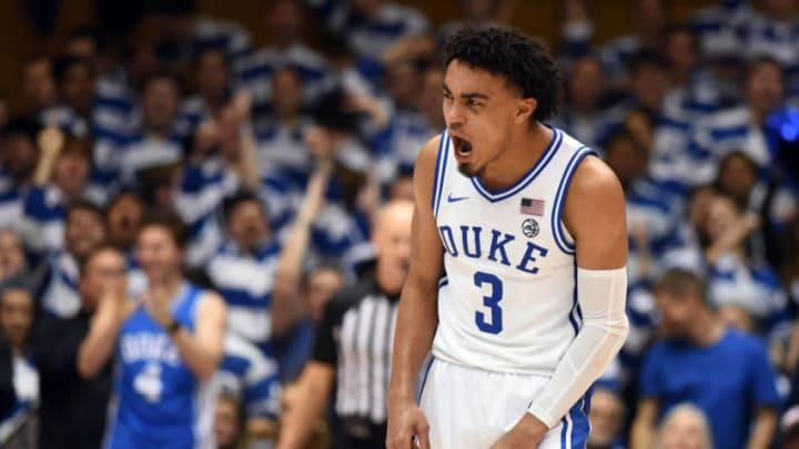 Feb 10, 2020; Durham, North Carolina, USA; Duke Blue Devils guard Tre Jones (3) was picked 41st overall by the San Antonio Spurs in the '20 NBA Draft. (Rob Kinnan-USA TODAY Sports)
