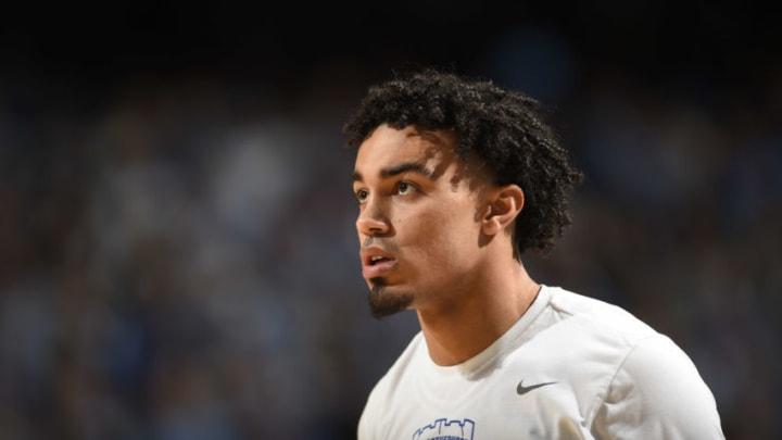 Feb 8, 2020; Chapel Hill, North Carolina, USA; The San Antonio Spurs have selected Duke Blue Devils guard Tre Jones (3) 41st overall in the 2020 NBA Draft. (Bob Donnan-USA TODAY Sports)