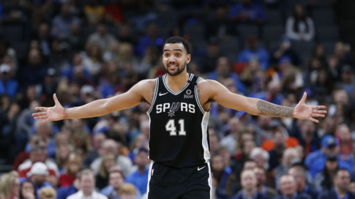 Feb 11, 2020; Oklahoma City, Oklahoma, USA; San Antonio Spurs center Trey Lyles (41) reacts after a call against him by officials during the second half against the Oklahoma City Thunder at Chesapeake Energy Arena. (Alonzo Adams-USA TODAY Sports)