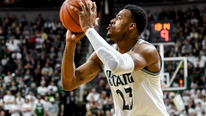 Michigan State's Xavier Tillman, someone for the San Antonio Spurs to consider in the draft, makes a shot during the first half on Sunday, March 8, 2020, at the Breslin Center in East Lansing.