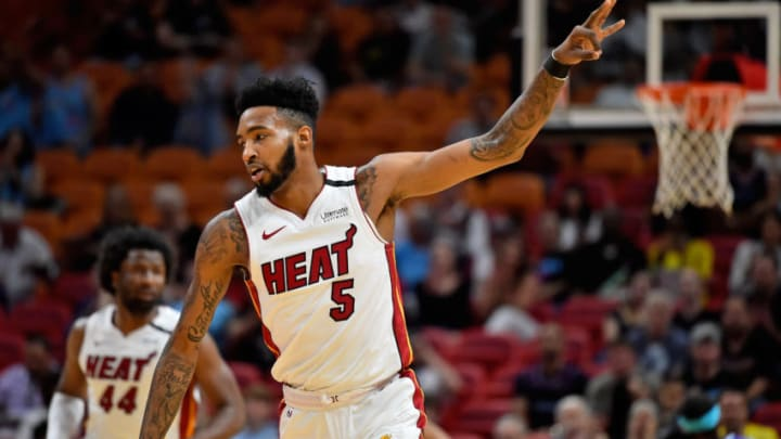 Mar 11, 2020; Miami, Florida, USA; Miami Heat forward Derrick Jones Jr. (5) gestures after making a three pointer against the Charlotte Hornets during the first half at American Airlines Arena. Mandatory Credit: Jasen Vinlove-USA TODAY Sports