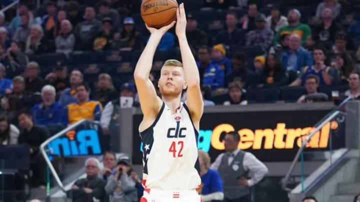 March 1, 2020; San Francisco, California, USA; Washington Wizards forward Davis Bertans (42) shoots the basketball against the Golden State Warriors during the first quarter at Chase Center. Mandatory Credit: Kyle Terada-USA TODAY Sports