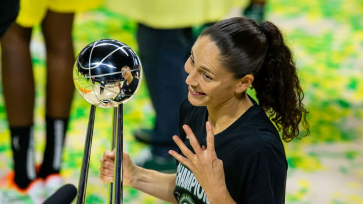 Oct 6, 2020; Bradenton, Florida, USA; Seattle Storm guard Sue Bird (10) poses with the championship trophy after winning the 2020 WNBA Finals at IMG Academy. Mandatory Credit: Mary Holt-USA TODAY Sports