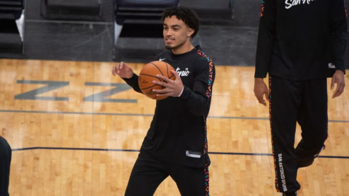 Dec 23, 2020; Memphis, Tennessee, USA; San Antonio Spurs guard Tre Jones (33) during the game at FedExForum. Mandatory Credit: Justin Ford-USA TODAY Sports