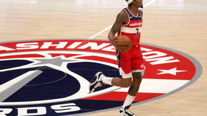 Dec 31, 2020; Washington, DC, USA; Bradley Beal #3 of the Washington Wizards dribbles the ball against the Chicago Bulls in the first half at Capital One Arena. Mandatory Credit: Rob Carr/Pool Photo-USA TODAY Sports
