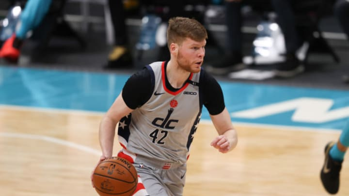Feb 7, 2021; Charlotte, North Carolina, USA; Washington Wizards forward Davis Bertans brings the ball up court against the Charlotte Hornets in the first half at Spectrum Center. Mandatory Credit: Nell Redmond-USA TODAY Sports