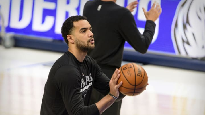 Mar 10, 2021; Dallas, Texas, USA; San Antonio Spurs forward Trey Lyles (41) warms up before the game between the Dallas Mavericks and the San Antonio Spurs at the American Airlines Center. Mandatory Credit: Jerome Miron-USA TODAY Sports