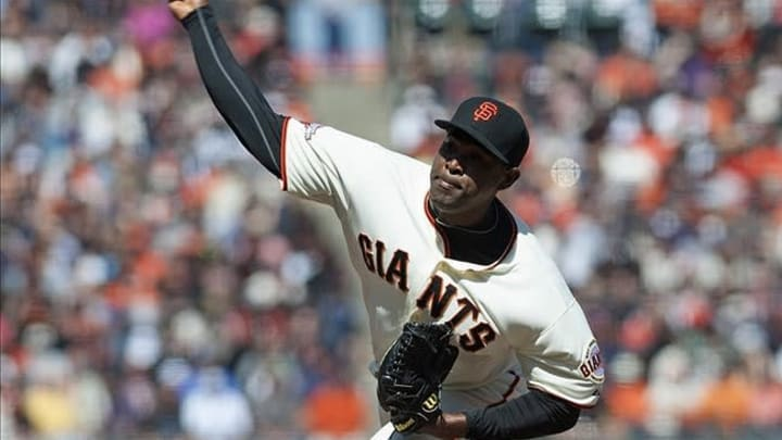 Apr 24, 2013; San Francisco, CA, USA; San Francisco Giants relief pitcher Santiago Casilla (46) pitches in relief against the Arizona Diamondbacks during the eighth inning at AT