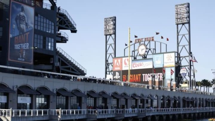 Jun 13, 2014; San Francisco, CA, USA; View of AT&T Park from the south of the stadium before the game between the San Francisco Giants and Colorado Rockies at AT&T Park. Mandatory Credit: Bob Stanton-USA TODAY Sports