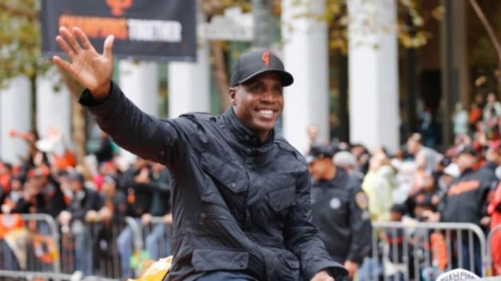 Oct 31, 2014; San Francisco, CA, USA; San Francisco Giants former player Barry Bonds waves to the crowd during the World Series victory parade on Market Street. Mandatory Credit: Kelley L Cox-USA TODAY Sports