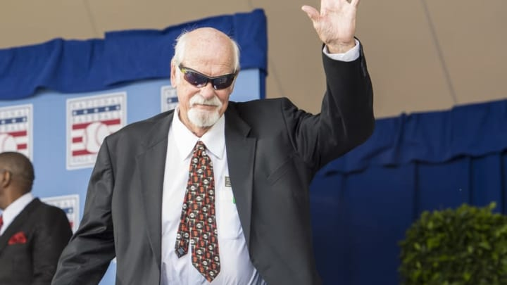 Jul 26, 2015; Cooperstown, NY, USA; Hall of Famer Gaylord Perry is introduced during the Hall of Fame Induction Ceremonies at Clark Sports Center. Mandatory Credit: Gregory J. Fisher-USA TODAY Sports