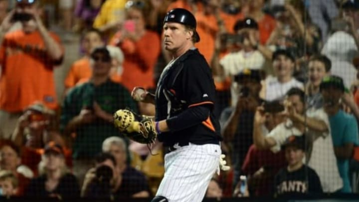 Mar 12, 2015; Phoenix, AZ, USA; Comedian and San Francisco Giants guest catcher Will Ferrell in action against the Chicago White Sox at Camelback Ranch. Mandatory Credit: Joe Camporeale-USA TODAY Sports