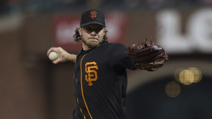 Apr 1, 2016; San Francisco, CA, USA; San Francisco Giants starting pitcher Jake Peavy (22) throws pitch against the Oakland A