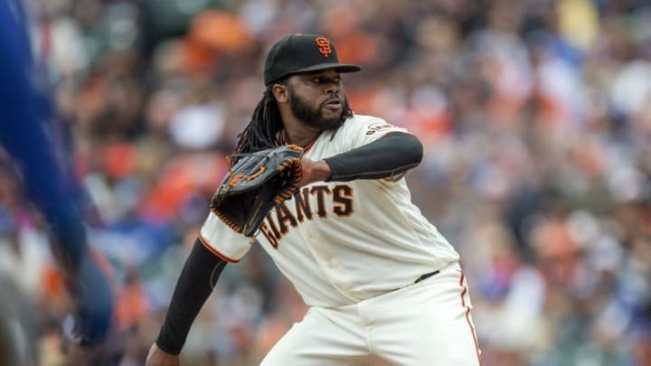Apr 10, 2016; San Francisco, CA, USA; San Francisco Giants starting pitcher Johnny Cueto (47) throws the ball during the first inning against the Los Angeles Dodgers at AT&T Park. Mandatory Credit: Kenny Karst-USA TODAY Sports