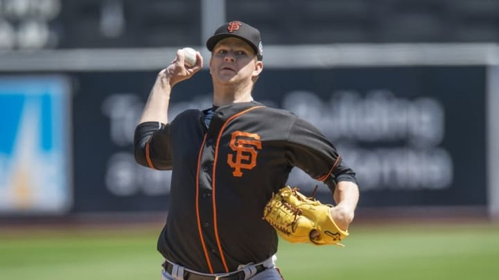 Apr 2, 2016; Oakland, CA, USA; San Francisco Giants starting pitcher Matt Cain (18) throws the ball in the first inning against the Oakland A