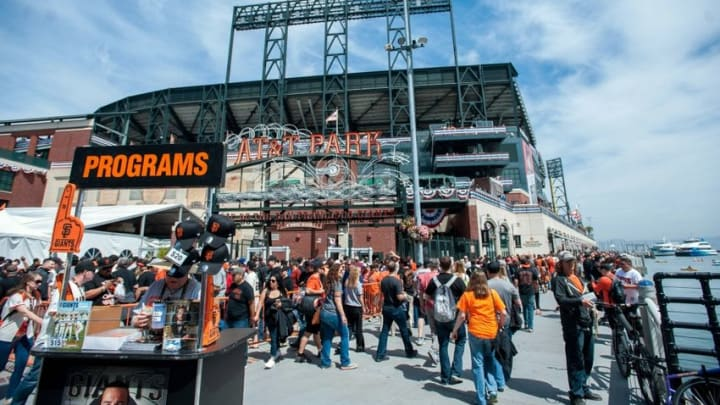 Apr 7, 2016; San Francisco, CA, USA; San Francisco Giants fans enter the park before the game against the Los Angeles Dodgers at AT&T Park. Mandatory Credit: Ed Szczepanski-USA TODAY Sports