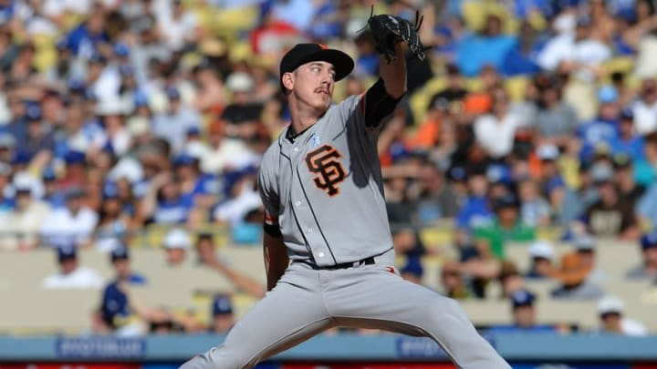 Jun 21, 2015; Los Angeles, CA, USA; San Francisco Giants starting pitcher Tim Lincecum (55) in the first inning of the game against the Los Angeles Dodgers at Dodger Stadium. Mandatory Credit: Jayne Kamin-Oncea-USA TODAY Sports