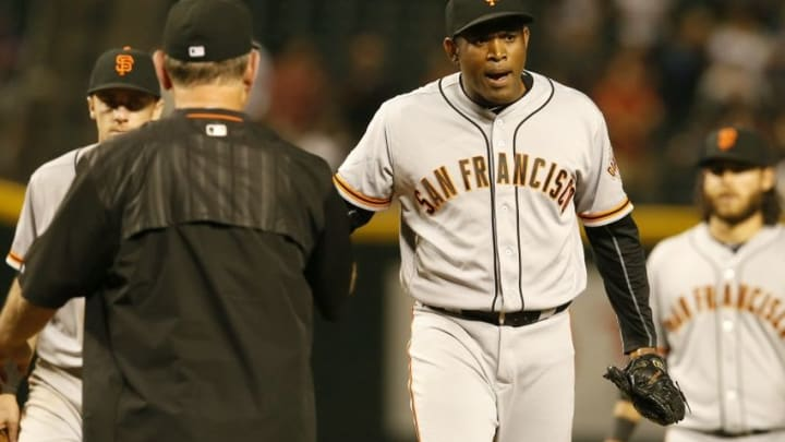 May 12, 2016; Phoenix, AZ, USA; San Francisco Giants relief pitcher Santiago Casilla (46) reacts after getting pulled out of the game in the ninth inning against the Arizona Diamondbacks at Chase Field. Mandatory Credit: Rick Scuteri-USA TODAY Sports