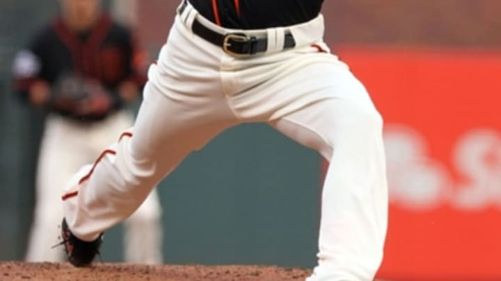 May 30, 2015; San Francisco, CA, USA; San Francisco Giants starting pitcher Tim Lincecum (55) throws against the Atlanta Braves in the first inning of their MLB baseball game at AT&T Park. Mandatory Credit: Lance Iversen-USA TODAY Sports