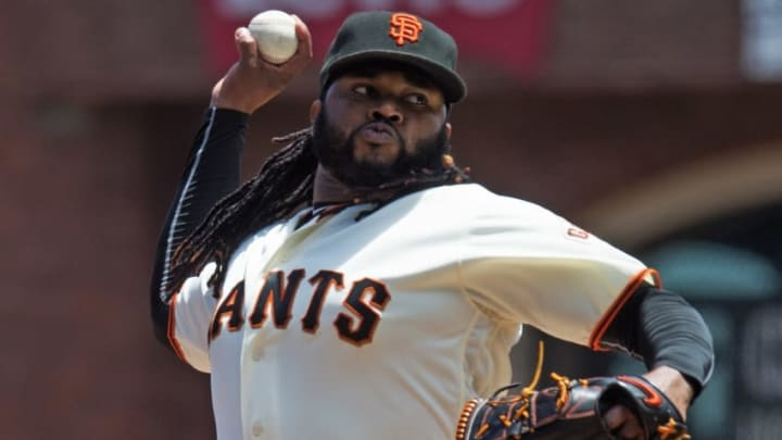 Jun 15, 2016; San Francisco, CA, USA; San Francisco Giants starting pitcher Johnny Cueto (47) throws the ball during the third inning against the Milwaukee Brewers at AT&T Park. Mandatory Credit: Kenny Karst-USA TODAY Sports