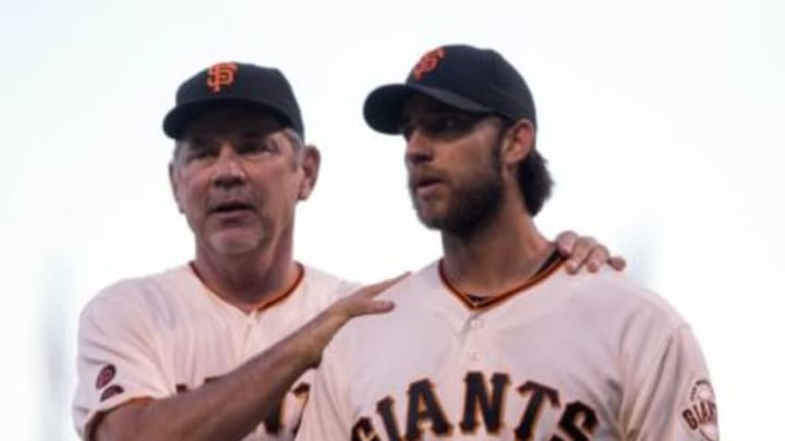 Manager Bruce Bochy doesn't have to be too careful when handling his Paul Bunyan-esque ace,