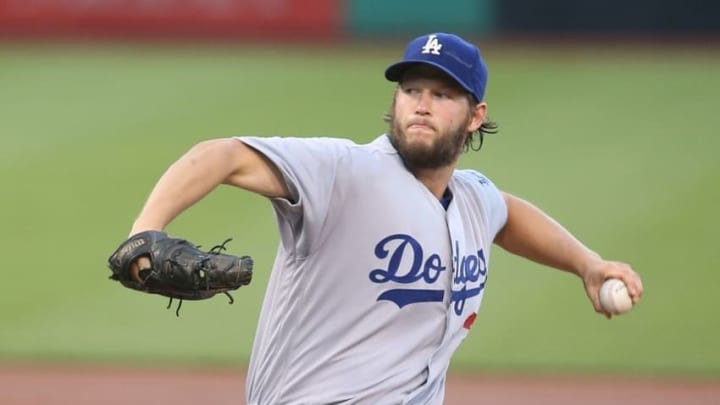 Jun 24, 2016; Pittsburgh, PA, USA; Los Angeles Dodgers starting pitcher Clayton Kershaw (22) delivers a pitch against the Pittsburgh Pirates during the first inning at PNC Park. Mandatory Credit: Charles LeClaire-USA TODAY Sports