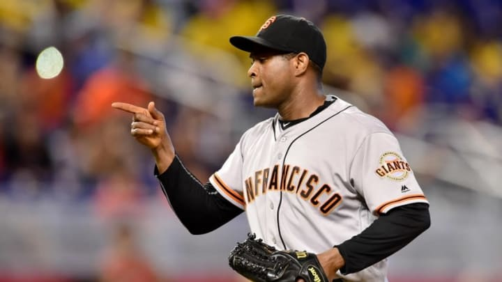 Aug 10, 2016; Miami, FL, USA; San Francisco Giants relief pitcher Santiago Casilla (46) celebrates after defeating the Miami Marlins 1-0 at Marlins Park. Mandatory Credit: Steve Mitchell-USA TODAY Sports