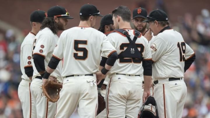 Apr 10, 2016; San Francisco, CA, USA; San Francisco Giants pitching coach Dave Righetti (19) meets with the Giants infield on the mound during the first inning against the Los Angeles Dodgers at AT&T Park. Mandatory Credit: Kenny Karst-USA TODAY Sports