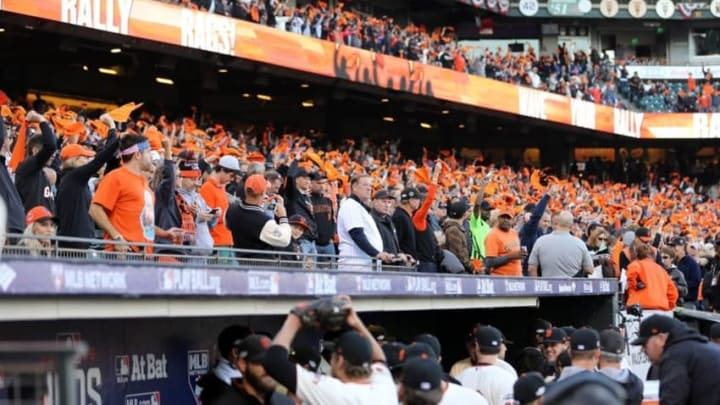 Oct 11, 2016; San Francisco, CA, USA; San Francisco Giants fans cheer before game four of the 2016 NLDS playoff baseball game against the Chicago Cubs at AT&T Park. Mandatory Credit: John Hefti-USA TODAY Sports