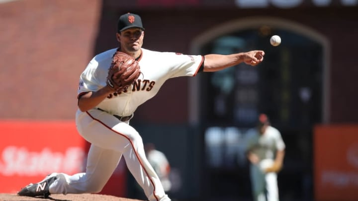Aug 12, 2015; San Francisco, CA, USA; San Francisco Giants relief pitcher Javier Lopez (49) pitches the ball against the Houston Astros during the eighth inning at AT&T Park. Mandatory Credit: Kelley L Cox-USA TODAY Sports
