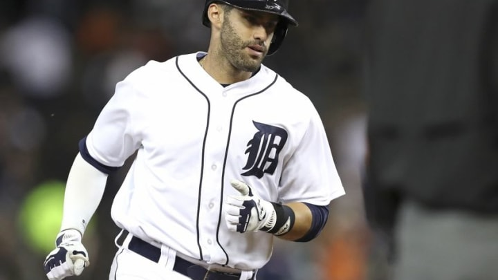 Sep 26, 2016; Detroit, MI, USA; Detroit Tigers right fielder J.D. Martinez (28) rounds third base after hitting a two-run home run during the second inning against the Cleveland Indians at Comerica Park. Mandatory Credit: Raj Mehta-USA TODAY Sports